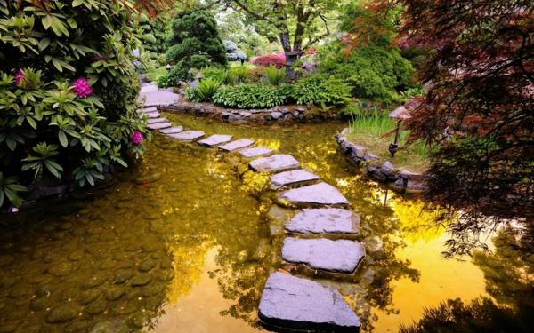 gartenteich anlegen wassergarten gestalten steinplatte