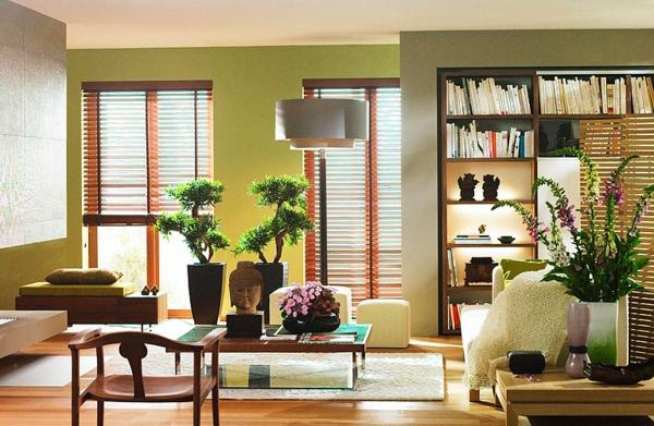 gutes feng shui wohnzimmer hell sonnenlicht dekorative bäume