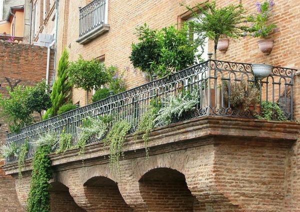 hängenden garten auf balkon gestalten ziegel mauer