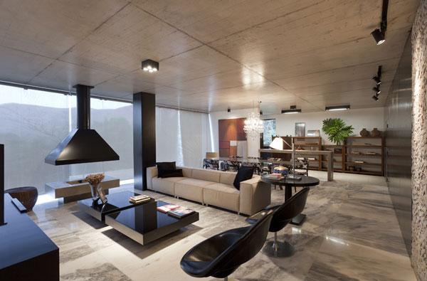 helles jugendliches haus brasilien design kamin niedrig gelegen tisch