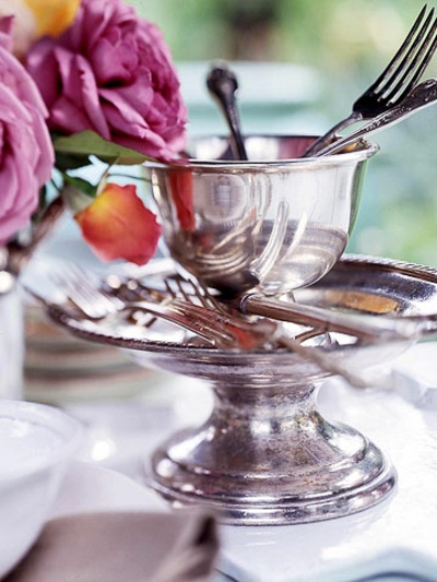 ideen deko sommer heiß silber tafelschmuck besteck