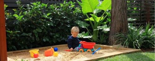 kinderspielplatz im hinterhof sand spielen pflanzen baum