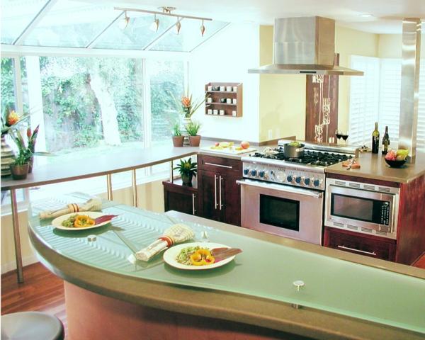 kleine feng shui details küche hellgrün modern licht pflanzen