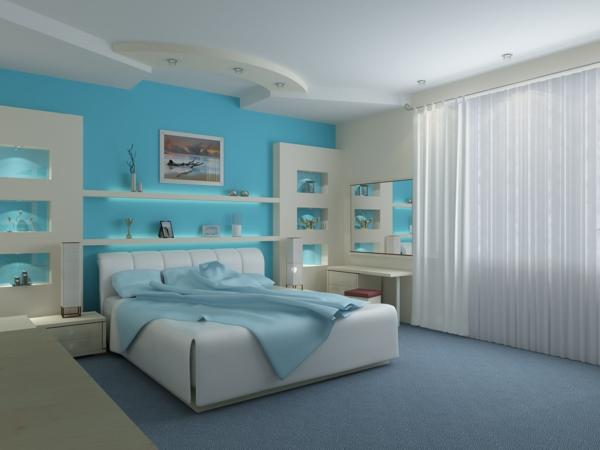 kleine feng shui details schlafzimmer hellblau weiß