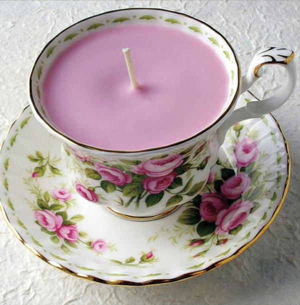 kreative deko ideen zum muttertag rosa kerze