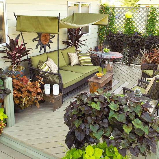 landschaft ideen grün stoff auflag sitzecke veranda