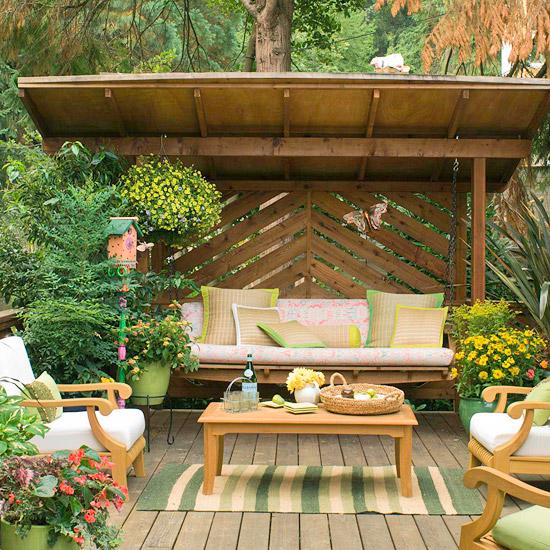 landschaft ideen - praktische und bequeme sitzecke im garten, Gartenarbeit
