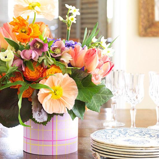 Textil Blumen WeißeVase Tischdeko