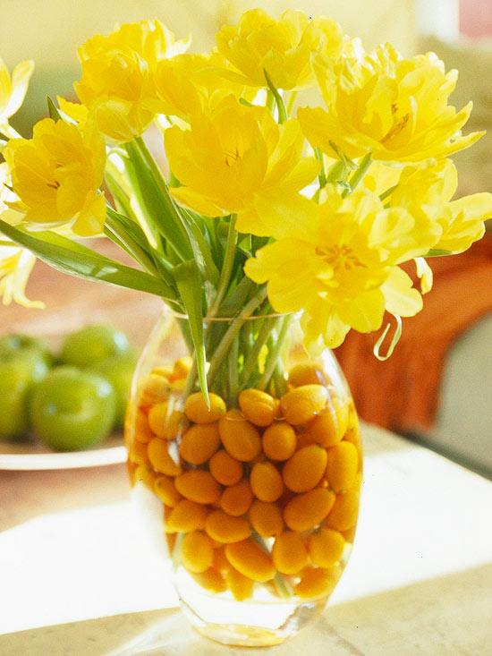 leichte blumen deko ideen zum muttertag gelb tulpen