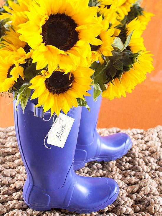 leichte blumen deko ideen zum muttertag sonnenblume