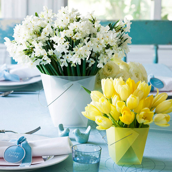 leichte blumen deko ideen zum muttertag tulpen gelb
