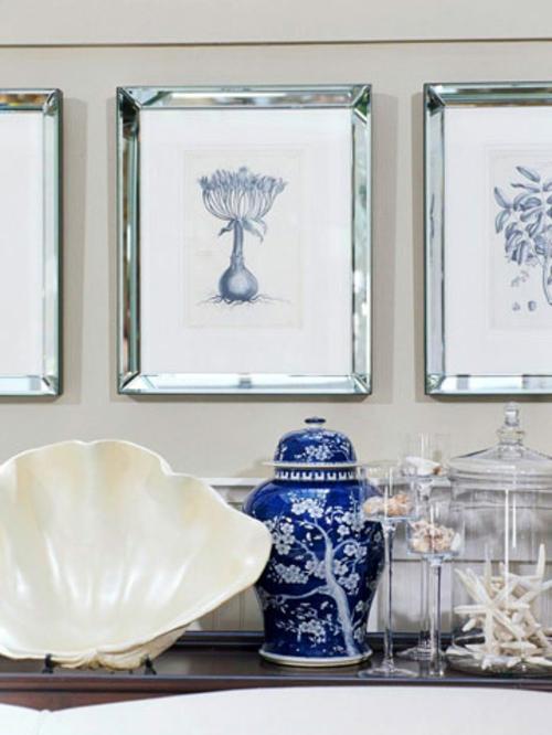 muschelschalen dekoration frisch blau keramisch blumen muster