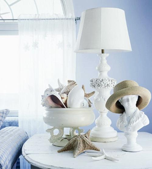 muschelschalen dekoration frisch sommerlich weiß tischlampe