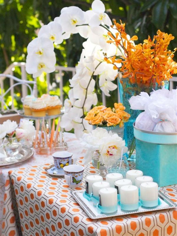 muttertag deko ideen blumenvase orange frühling
