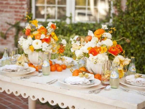 muttertag deko ideen einfach elegant orange
