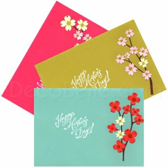 muttertag deko ideen grußkarte glückswunsch farbig