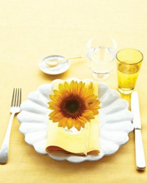 muttertag deko ideen tisch festlich kaffee sonnenblume