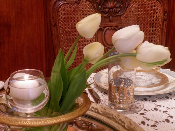 muttertag tisch deko ideen hasen tulpen frühling