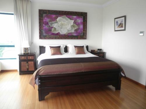 nördliches feng shui schlafzimmer elegant holz bodenbelag hell