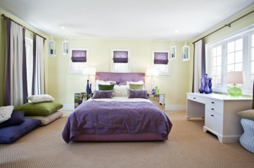 nördliches feng shui schlafzimmer ideen lila