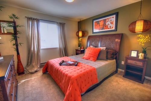 nördliches feng shui schlafzimmer ideen orange seide