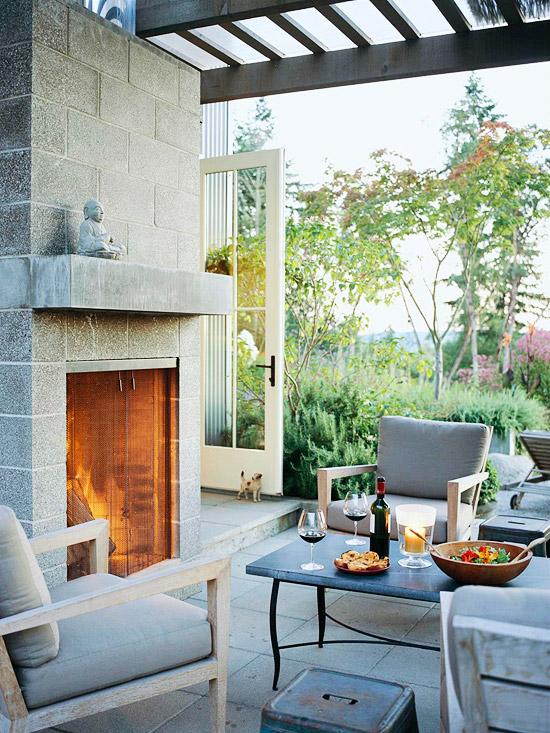 patio landschafti ideen beton grau feuer buddha lehnstuhl