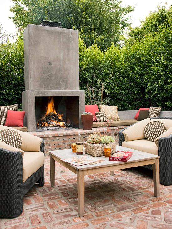 patio landschaft ideen hinterhof lebhaft feuer grube ziegel