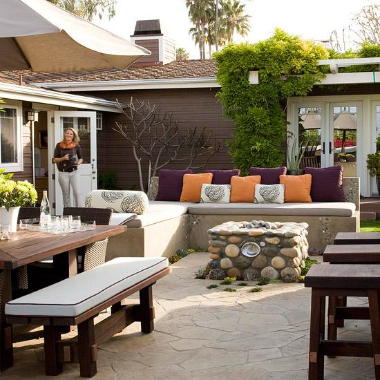 patio landschafti ideen hinterhof lebhaft ordnung holz bank tisch