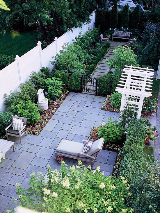 patio landschaft ideen hinterhof von oben gesehen