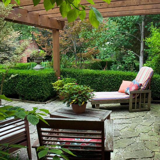patio landschafti ideen holz hinterhof sitz möbel