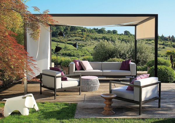 pergola gartenlaube holz gartenlaube offen außenmöbel polstersessel sofa