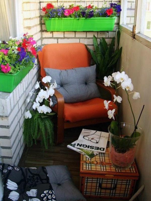 balkonpflanzen balkongeländer verschiedene farben gepaart