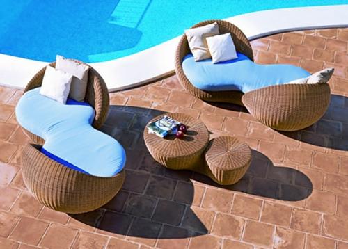 pointatmosphera sofa pool garten kaffeetisch blau auflage