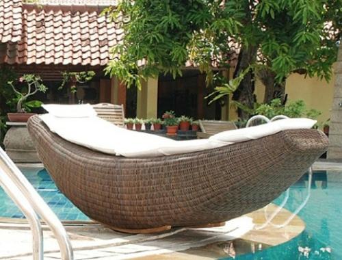 rattania korbmöbel liege pool weiß auflage