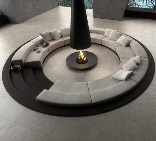 runde sitzecke schwarz elegant wurfkissen