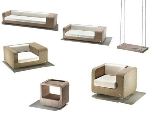Rattan Gartenmöbel Ideen außen möbel schaukel design