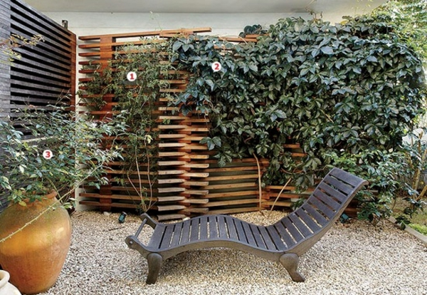 Sichtschutz Aus Holz Im Garten Design Liege