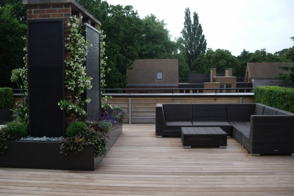 Sichtschutz für Terrassen  beige auflage grau gefäß design