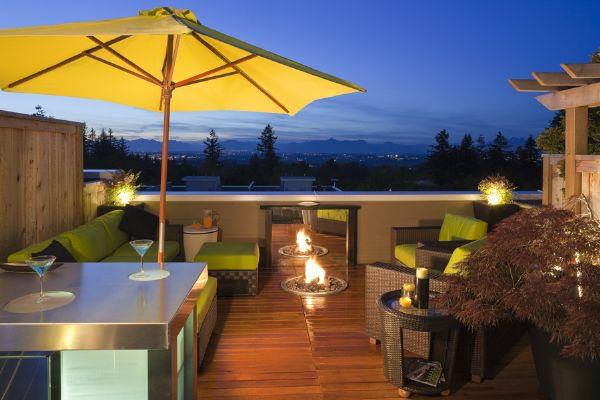 Sichtschutz für Terrassen  beige auflage grau gelb sonnenschirm