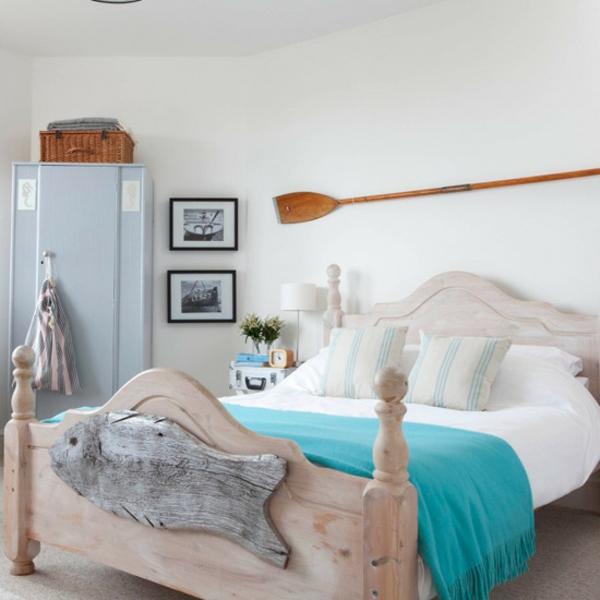 sommer deko ideen bett schlafzimmer türkis blau