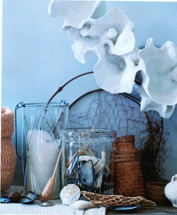 sommer haus dekoration glas tisch blau elegant