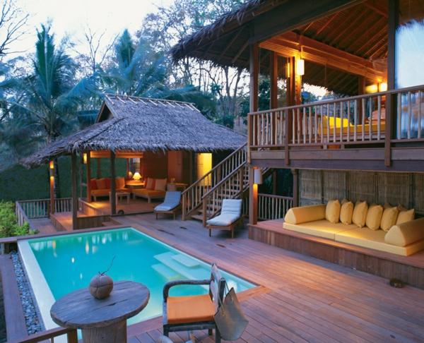 Coole Terrassenüberdachung Ideen hochmodern asiatisch