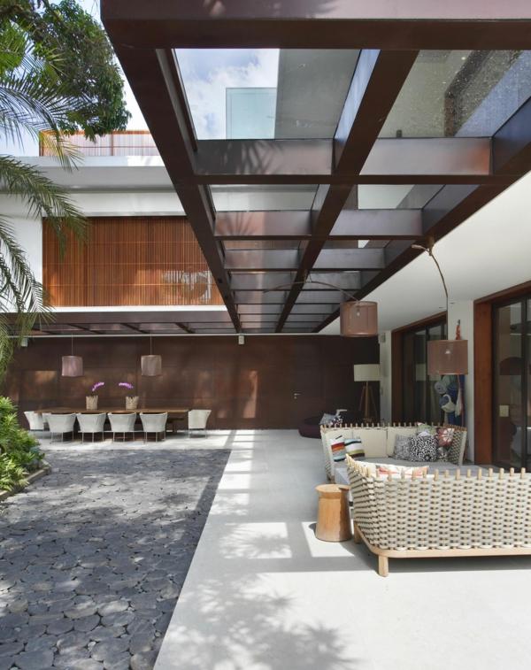terrassenüberdachung ideen hochmodern garten design markise braun