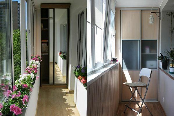 terrasse balkon winzig kompakt idee eingebaut schrank schiebetüren