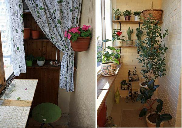 terrasse balkon winzig kompakt idee pflanzen blumentopg gardinen klapptisch