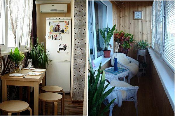 terrasse balkon winzig kompakt idee tisch hocker kühlschrank