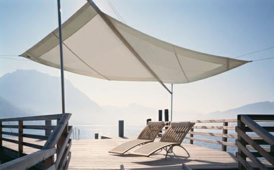 terrasse sonnensegel schattenspender designer ideen liegen