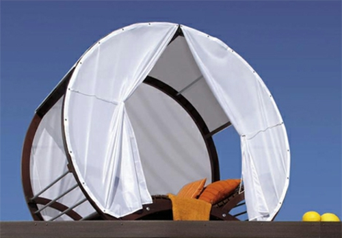 tete-a-tete privat luftig gardinene weiß baldaching liege Rattan Gartenmöbel Ideen