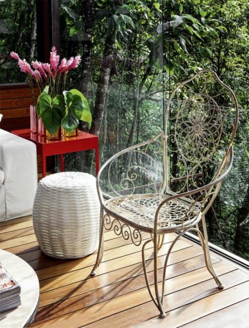 veranda aus holz außenmöbel stuhl elegant glas