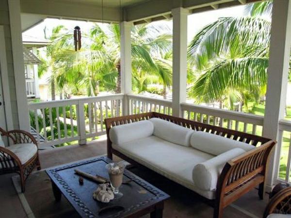 veranda design ideen holz tisch rot bank